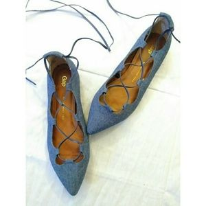 Old Navy Chambray (Denim) Lace up Ballet flats